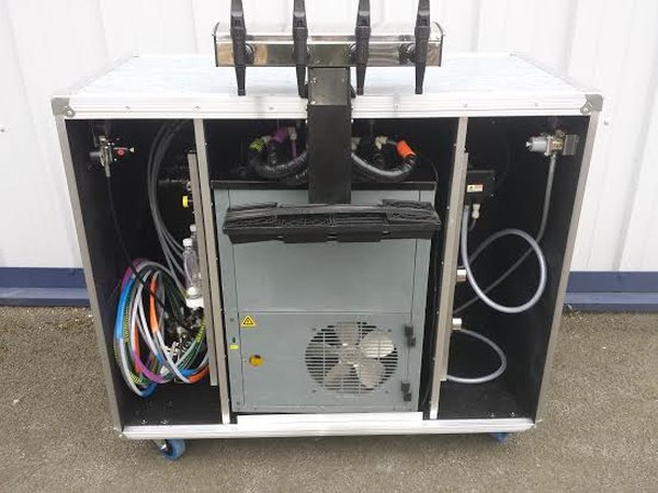 Mobile Bar with Dispense System in Flight Case Style on Wheels