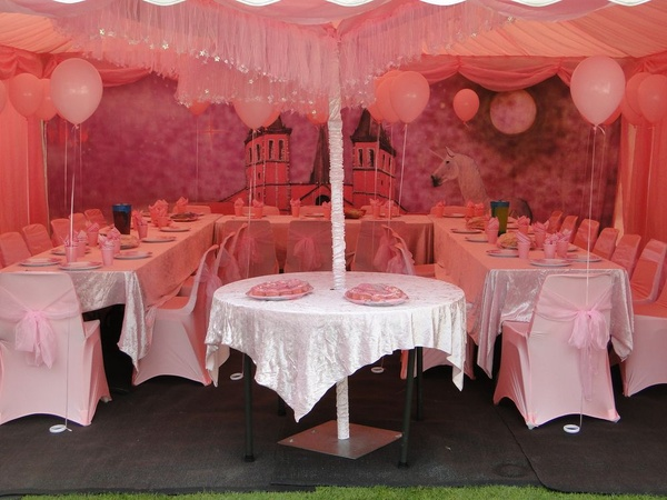 6m x 6m Princess themed roder marquee with with pink roof and wall linings