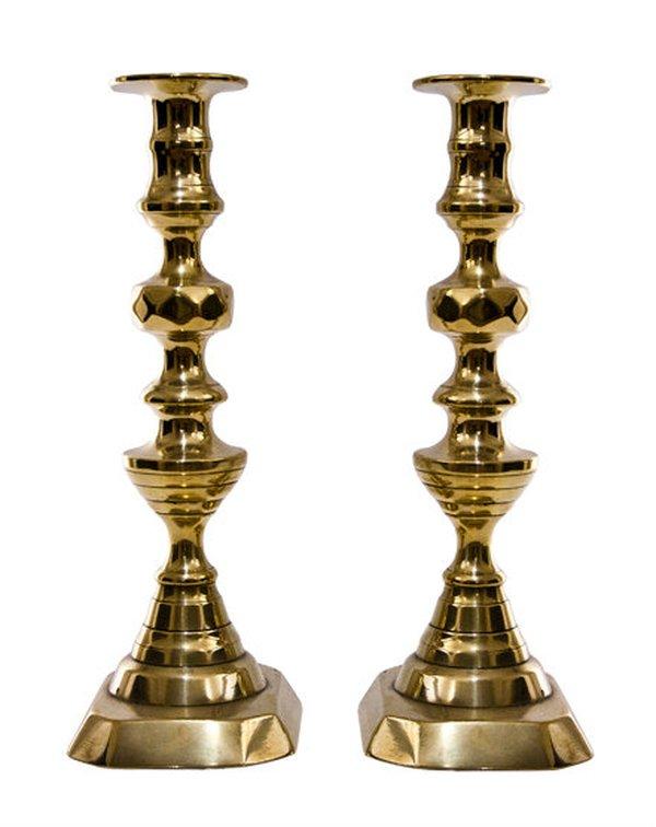 Pair Victorian Brass Candlestick c.1880