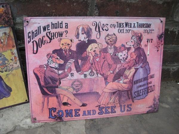 Metal vintage dog show sign
