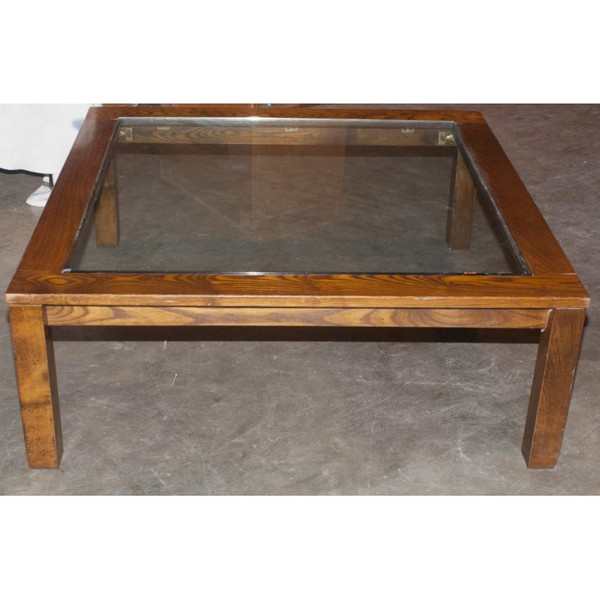 Large Square Glass Top Coffee Table for sale