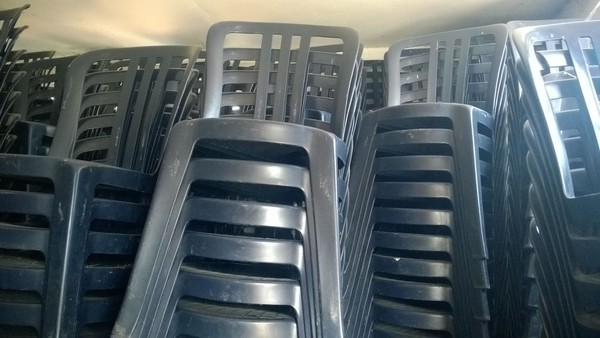 Blue Plastic Stackable Cafe Chairs