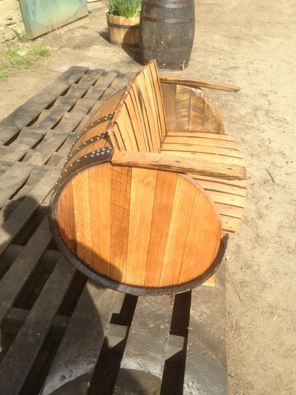 Whisky barrel reclaimed bench