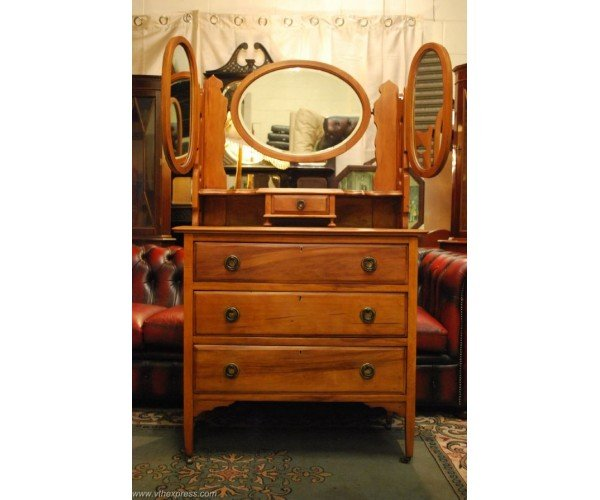 Beautiful Walnut Dressing Table with Triple Mirrors