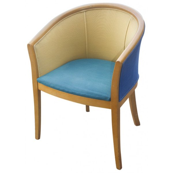 Tub Chair With Green And Blue Upholstery