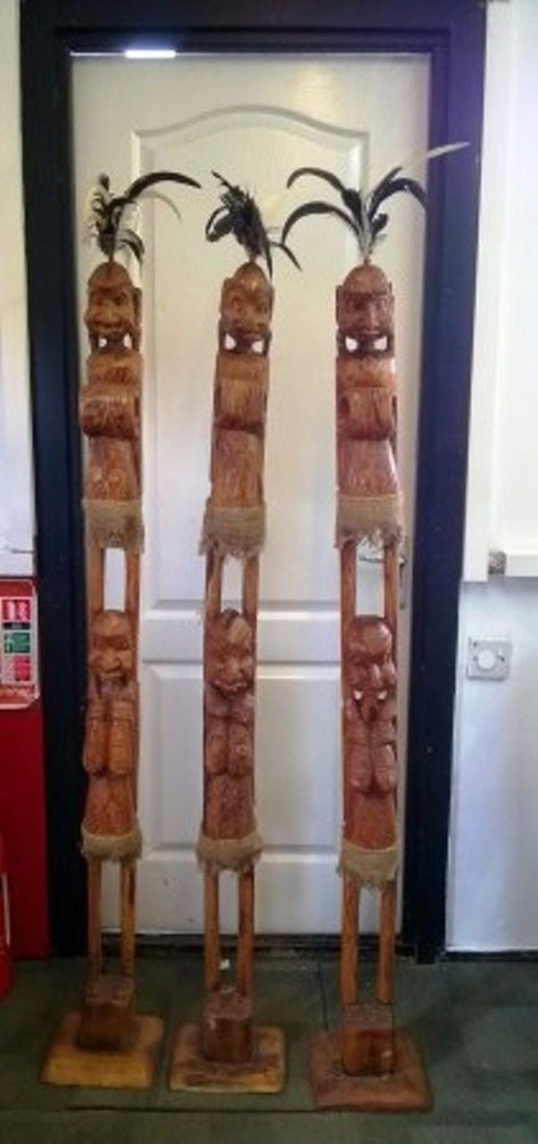 Set of 3 matching African Tribal Poles