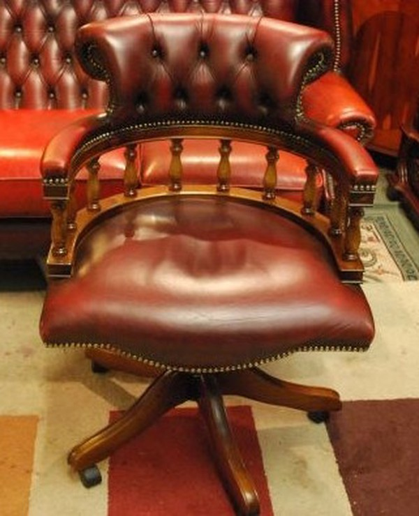 office chairs mahogany red leather chesterfield office captain chair