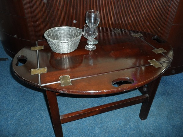 Classic mahogany 4 drop- side butlers tray