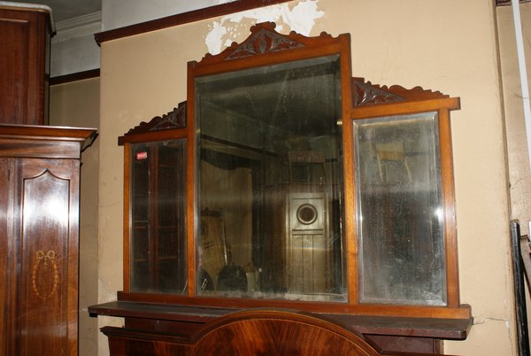 Victorian Walnut Large Overmantle Mirror