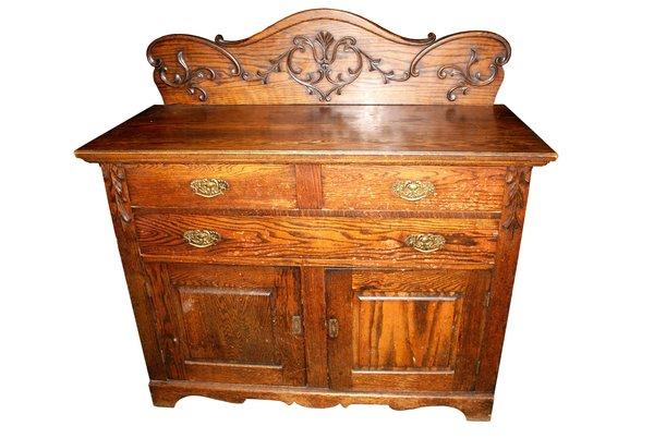 American Carved Oak Chiffonier