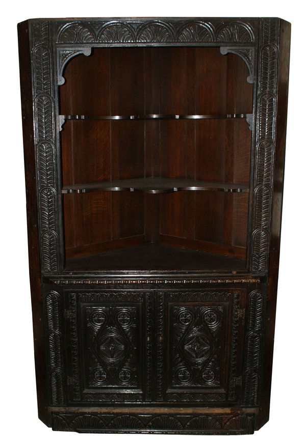 Victorian Dark Oak Carved Corner Cabinet