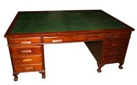 Leather Topped Mahogany Partners Desk