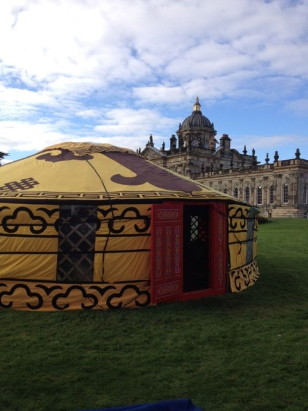 Magnificent huge Mongolian yurt with windows.