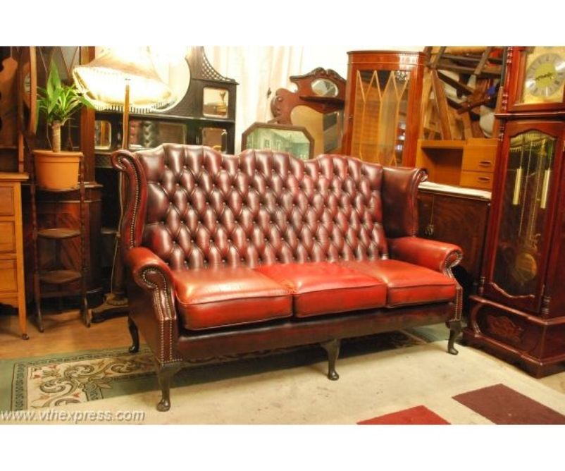 leather 3 seater oxblood wingback queen anne chesterfield sofa