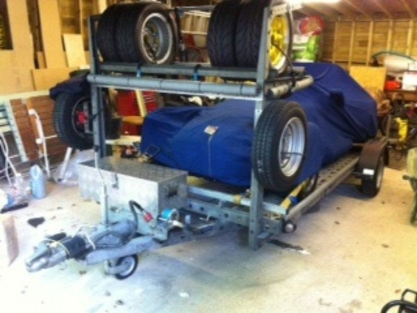 Woodford single braked car trailer with spare tyres
