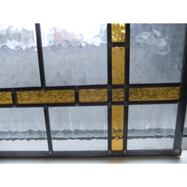 Bespoke Hand made stained glass panel Rectangle with amber border