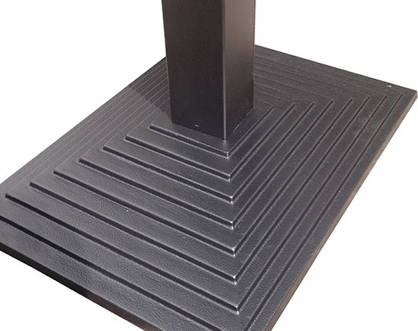 Sturdy cast Iron table base with rectangular step design at it's base