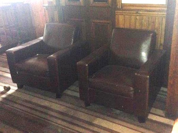 Brown Leather Arm Chairs