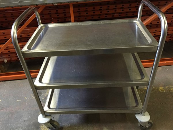 Commercial 3 Tier Stainless Steel Heavy Duty Catering Trolley on Wheels