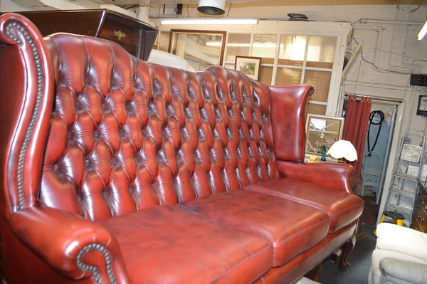 Red Ox Blood Leather Queen Anne Chesterfield Three Seater Sofa