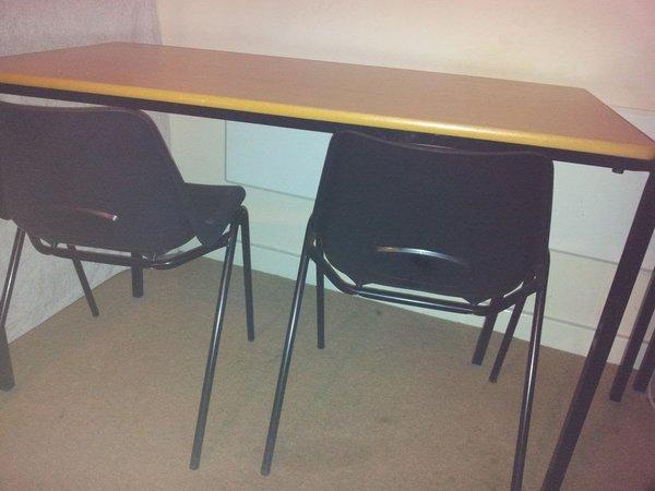Oak Classroom Table & 2 Black Polypropylene Chair