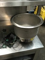 10 inch Mobile containing stainless steel drop in soup well and controllers
