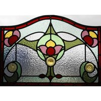 1930's Stained Glass Panel with Flower Design