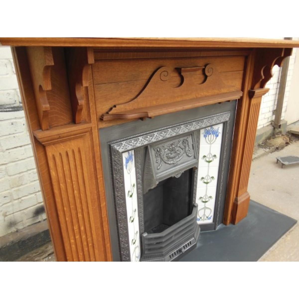 Antiques Bazaar Victorian 1837 To 1901 Original Oak Victorian Fireplace Surround With