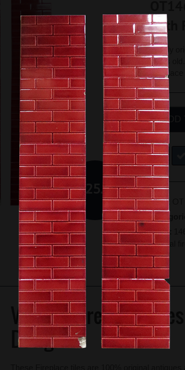 Vintage Fireplace Tiles With Red Brick Design