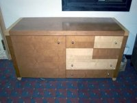 Beech & Walnut Finish Credenza Unit with Hospitality Tray Drawer