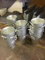 Galvanised buckets for table décor