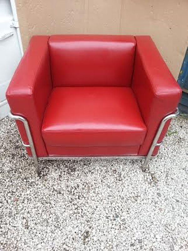 Red Leather stainless steel framed chairs