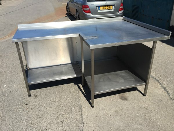 Used stainless steel table L shaped