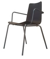 Wooden Seat Canteen Stacking Chair with Arms (MF2372)