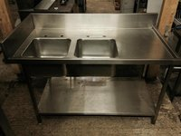 Stainless steel commercial sink with back stand