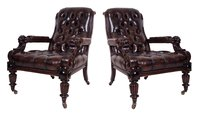 Pair of Library Leather Chairs