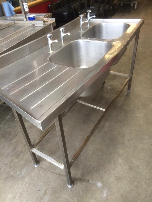 Curved Stainless Double Sink