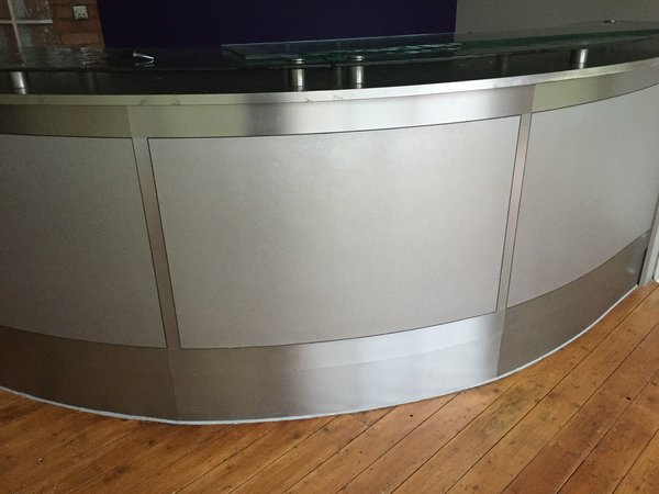 Curved Glass-Topped Cocktail Bar with LED lighting