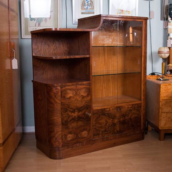 Burr Walnut Art Deco Display Cabinet
