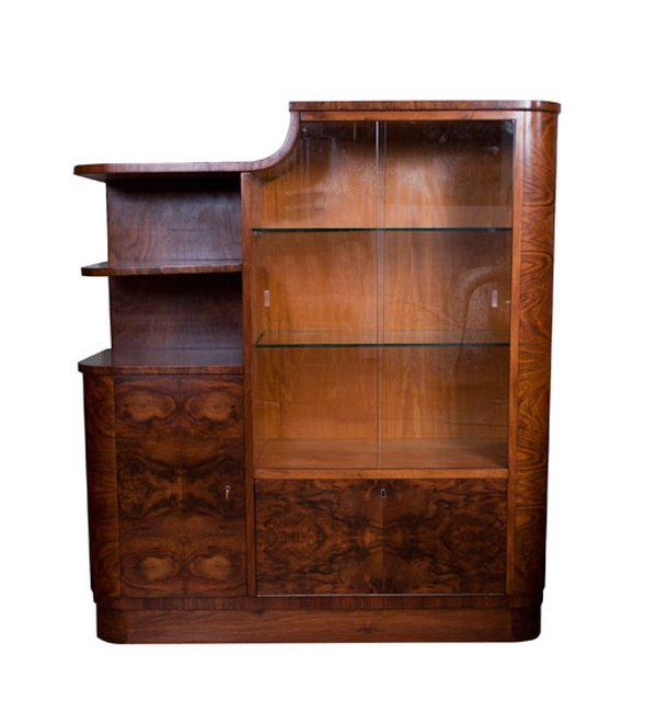 Burr Walnut Art Deco Display Cabinet