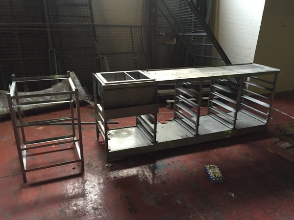 Set of stainless steel back bar tray racks