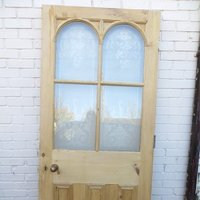 Arched acid Etched Glass Exterior Door