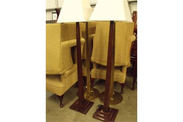 Pair of Solid Wood Standard Lamps