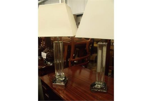 Pair of Stylish Square Glass Column Table Lamps