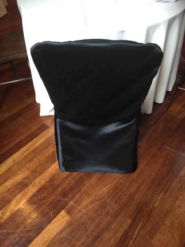 Black satin chair covers