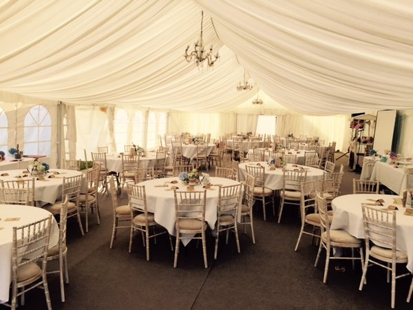 Limewash Chiavari Banquet Chairs with Ivory Seat Pad