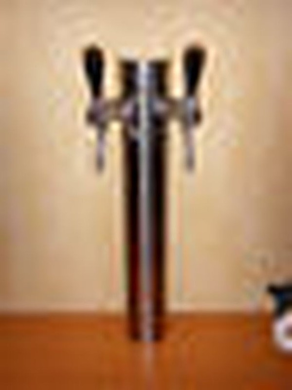 Beer Tap Faucet Draft 2 Lines Stainless Steel Tower