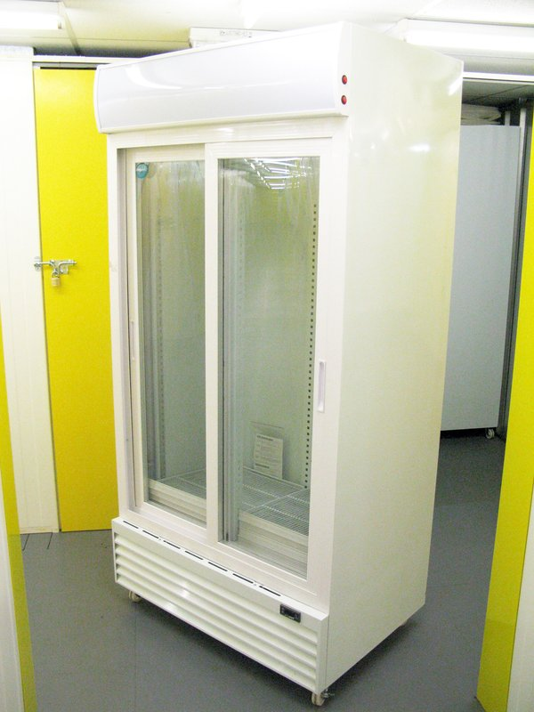2x Jumbo 1mt Wide Double Glass Door Display Cooler