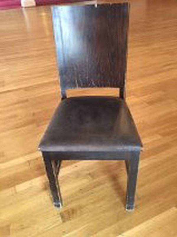 5 Wooden and Leather chairs