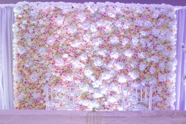 artificial white rose backdrop / canopy